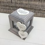 Shabby Chic In Memory HUSBAND ANY NAME Rustic Wood Personalised Photo CUBE Box
